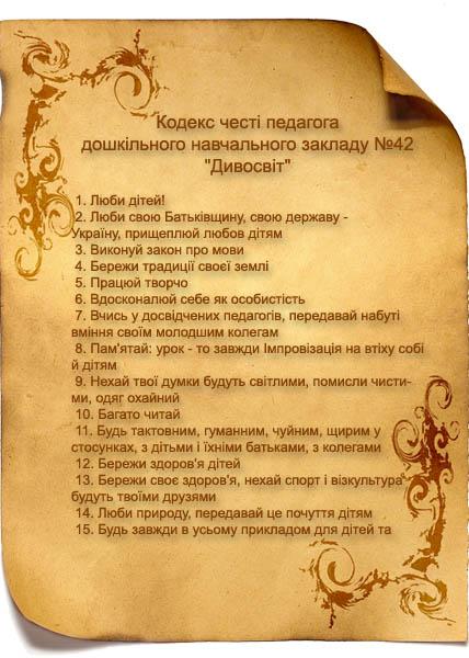 Кодекс честі педагога